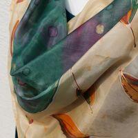 Hedvábný malovaný šátek - Podzimní klasika Batitex - malovaná, batikovaná trička, šaty, mikiny, šátky, šály, kravaty