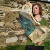 Hedvábný malovaný šátek - Podzimní klasika