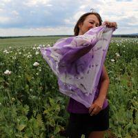Hedvábný malovaný šátek - Polibek jmelí 2