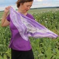 Hedvábný malovaný šátek - Polibek jmelí