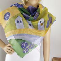 Hedvábný malovaný šátek - Tady jsem doma