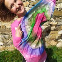 Hedvábný malovaný šátek - Tornádo barev 2 Batitex - malovaná, batikovaná trička, šaty, mikiny, šátky, šály, kravaty