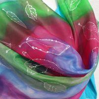 Hedvábný malovaný šátek - Tornádo barev