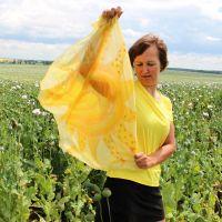 Hedvábný šátek - Mé slunce Batitex - malovaná, batikovaná trička, šaty, mikiny, šátky, šály, kravaty