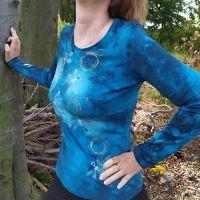 Malované batikované tričko - Nad večerní hladinou | velikost S, velikost M, velikost L, velikost XL, velikost 2XL